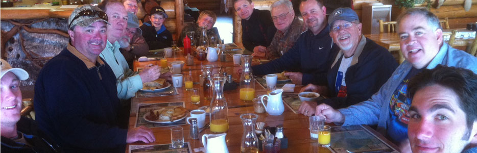 Sherman Party Enjoying A Hearty Breakfast Before Fishing