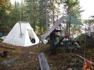 One man wilderness tent camp, Ontario, Canada.